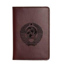 Logotipo grabado Unión Soviética, URSS pasaporte cartera viaje titulares de la tarjeta de cuero de Caballo Loco caso CCCP Cartera de viaje