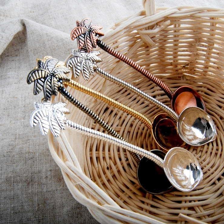12 unids/set cuchara de café con forma de árbol de coco vajilla antigua cucharas de té café estilo Tropical Metal tallado