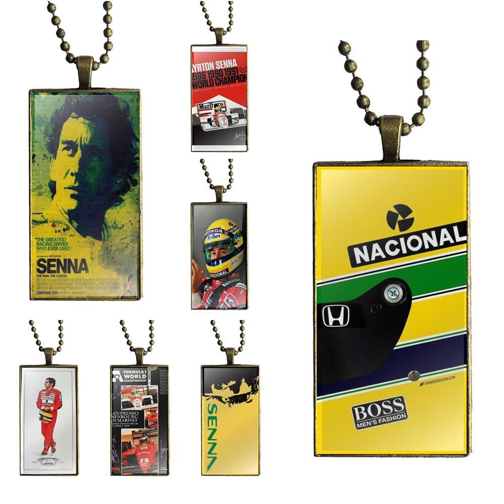 EJ Glaze Ayrton Senna Signed Fashion Glass Cabochon Pendant Rectangle Necklace Choker Necklace Jewelry For Women Wedding Gift