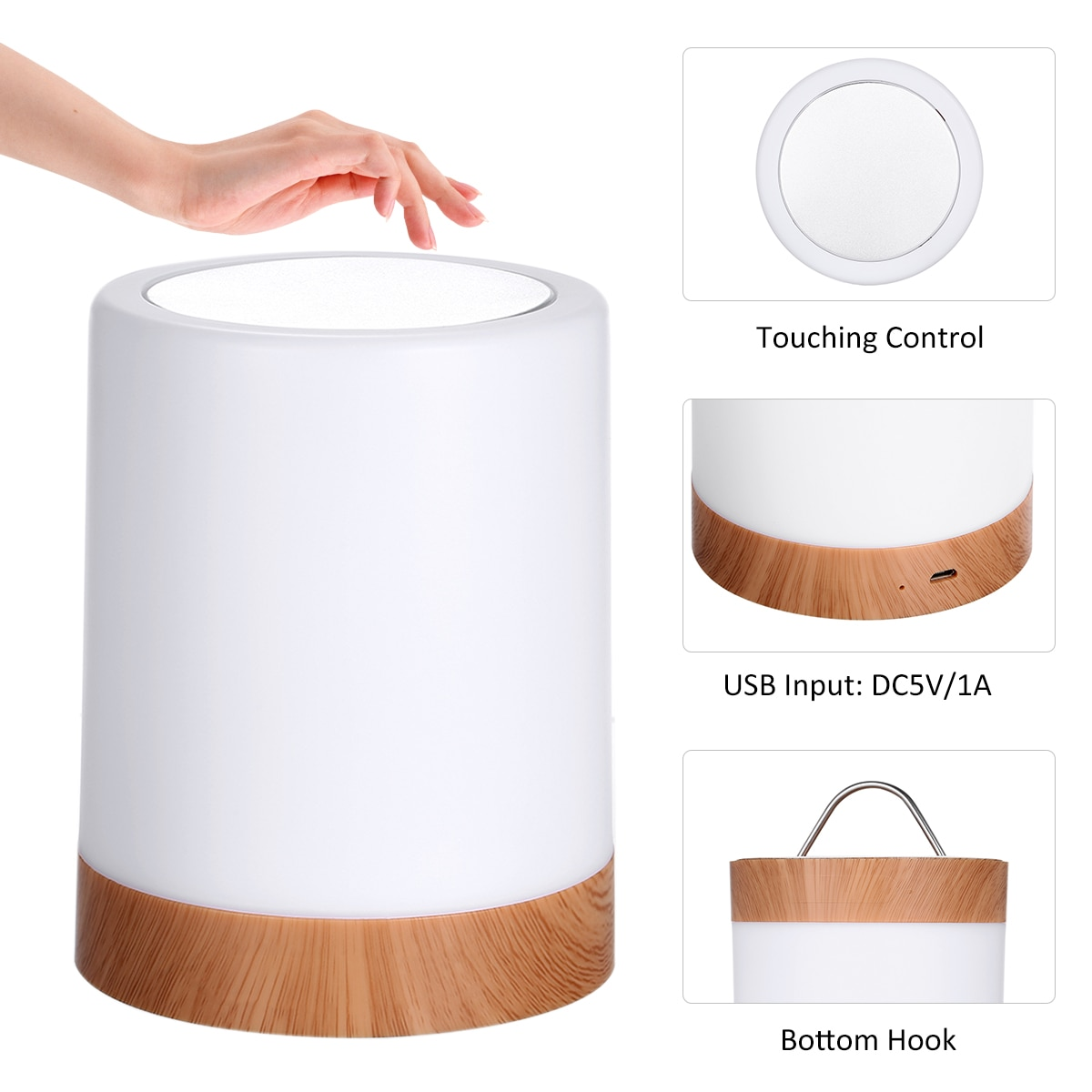 USB Rechargeable Touching Control Bedside Light Dimmable Table Lamp Warm White & RGB Night Light for Living Room Bedrooms Office enlarge
