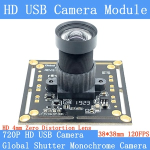 720P 120FPS MJPEG USB Camera Module Non Distortion Global Shutter monochrome High Speed OTG UVC Linux CCTV Surveillance Webcam