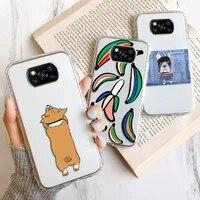 clean transparent phone case for xiaomi poco x3 nfc fundas poco m3 pro f3 c3 m2 cover soft silicon shockproof bumper cartoon dog