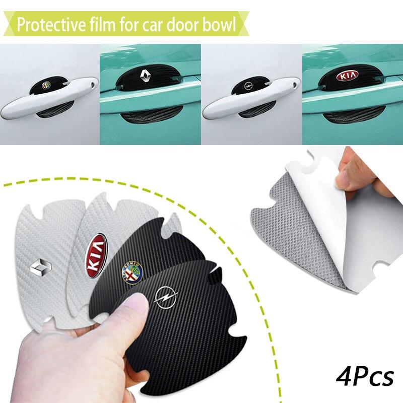 Pegatina de película de protección para manija de puerta de coche, accesorios para coche Mitsubishis ASX Lancer Pajero Outlander L200 EVO Lancer EX, 4 Uds.