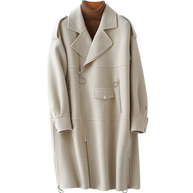 Женское двухстороннее шерстяное пальто средней длины, свободное корейское пальто с воротником-костюмом, весна 2021