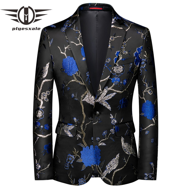 Plyesxale 2020 High Quality Stylish Blazer For Men Brand Mens Designer Blazer Suits Jacket New Men's Stage Costumes 5XL Q989