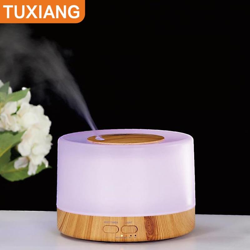 Tuxinag 500 مللي الروائح آلة سعة كبيرة المرطب ضوء ملون زيت طبيعي الناشر