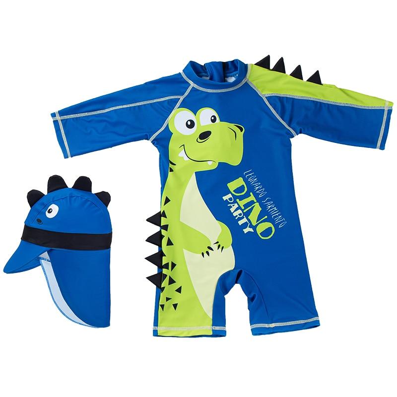 Kinder Bademode one-Stück Anzug (Schwimmen Kappe & A Sonnencreme einteiliges Badeanzug) cartoon Big-Bellied Dinosaurier Bild Geeignet für Infan