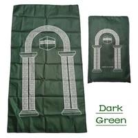 p15f portable muslim prayer rug waterproof pu braided mat simply print pouch travel home blanket 60x100cm