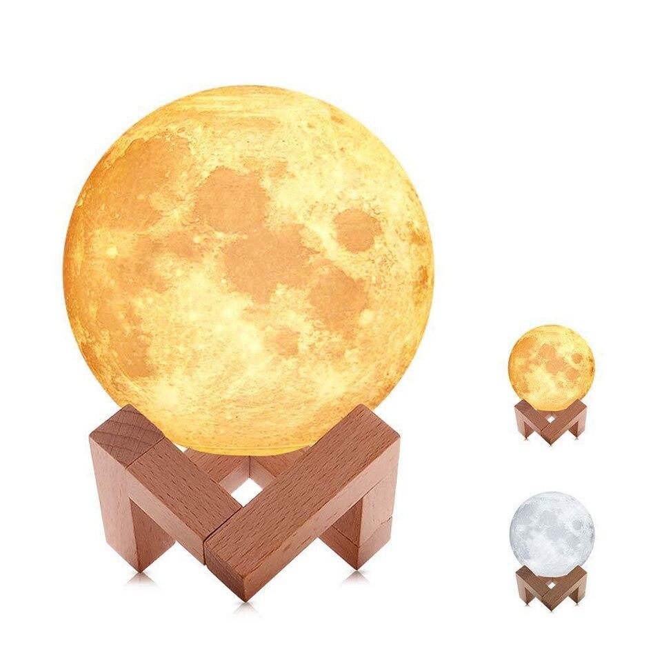 Dropship 3D Print Moon Lamp 2 colors LED Night Light for Christmas Decoration Home Decor Creative Gift USB charging touch sensor