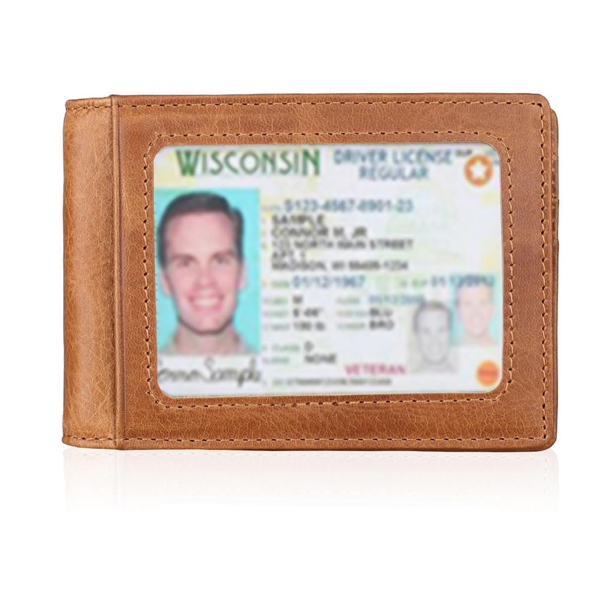 Продажа кожаного бумажника Crazy Horse, ретро-кошелек с RFID-защитой и зажимом для наличных, мужской кошелек с несколькими отделениями для карт и у...