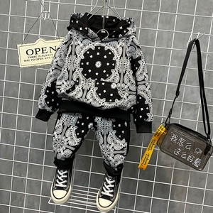 Spring and Autumn Children's Clothing Boys Clothes Boys Sweater + Pants 2-piece Baby Fashion Geometric Totem Male Baby Clothes