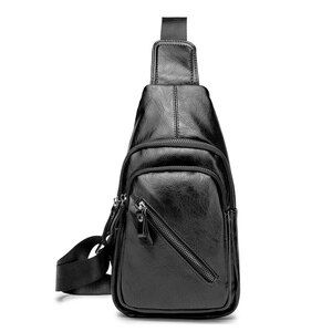 Factory direct sales man his chest han edition fashion leisure bag shoulder bag PU leather bag