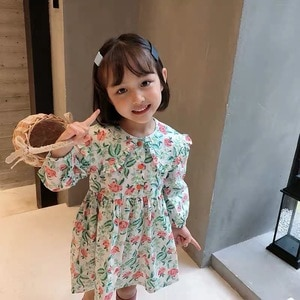 Children Clothing Dress 2020 New Lovely Floral Princess Dress Spring Autumn Clothes Printing Flowers Kids Dresses Girls Dress