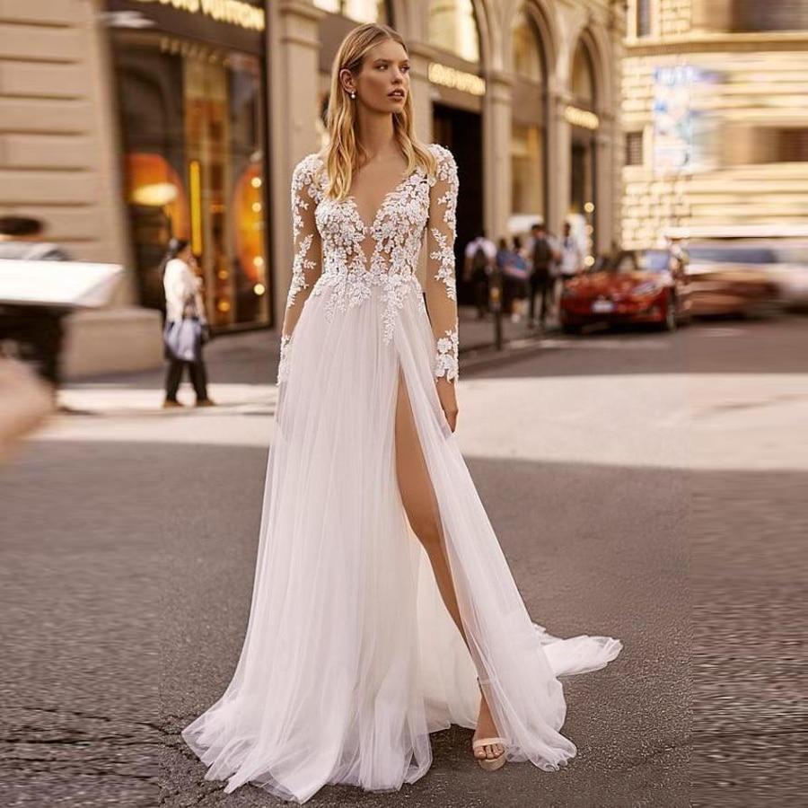 فستان زفاف بأكمام طويلة من الدانتيل ، رقبة رسن ، شق عالي ، مع كشكش ، قطار ، مجموعة 2020