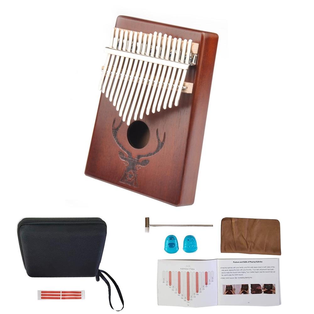 Kalimba 17 Keys Thumb Piano High Quality Handguard Wood Mahogany Mbira Body Musical Instruments Kalimba Piano Creative Music Box