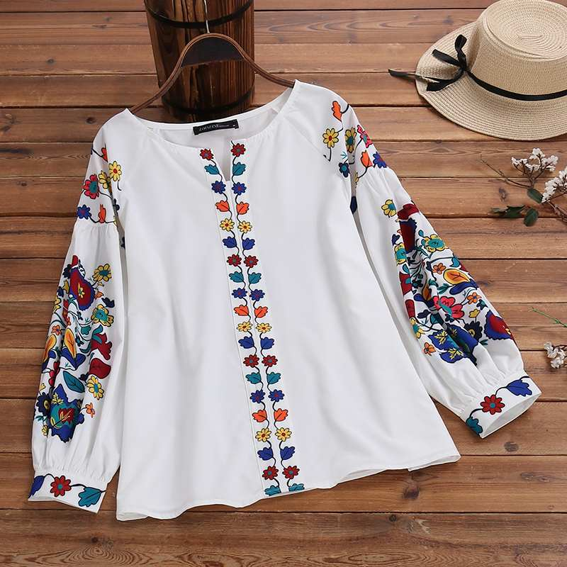 Vintage Floral Printed Bohemian Party Blouse Plus Size ZANZEA Spring Tunic Tops Women Casual Long Sleeve Shirts Female Blusas 7