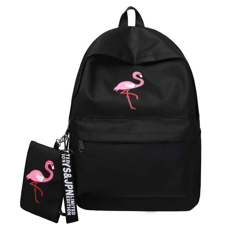 Harajuku school bag female Korean version of ulzzang high school students flamingo print campus college wind canvas backpack