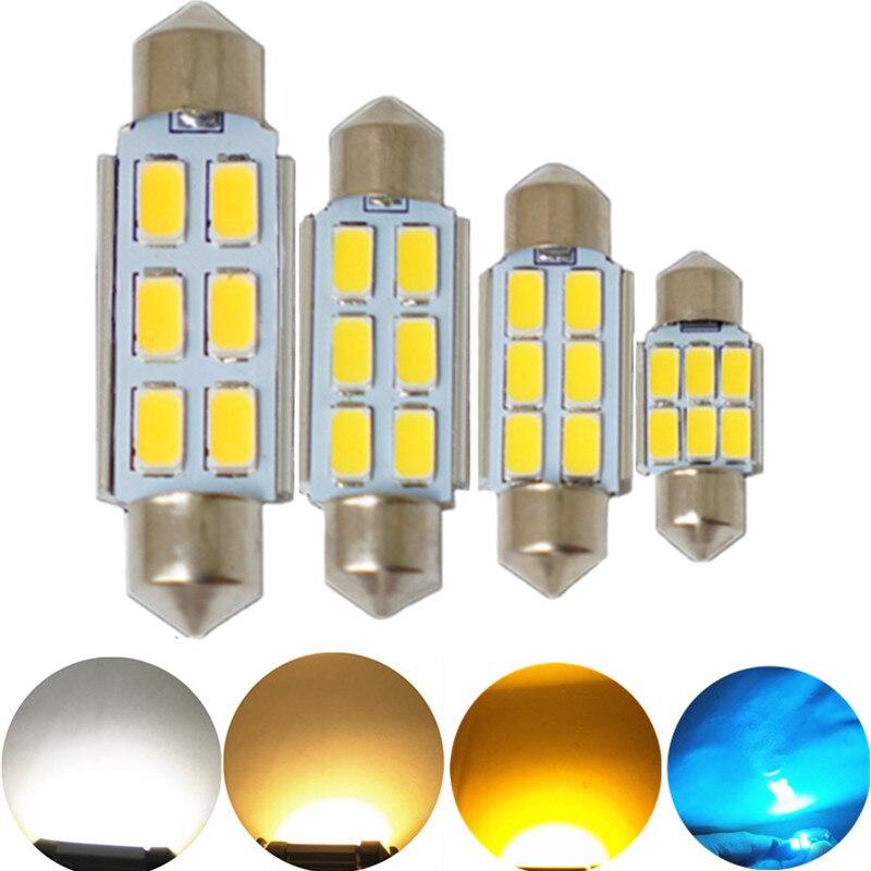 JGAUT 1 Uds CANBUS blanco cálido amarillo 31MM 36MM 39MM 41MM 12V 6SMD LED festón Dome, matrícula, techo, guantera iluminación interior