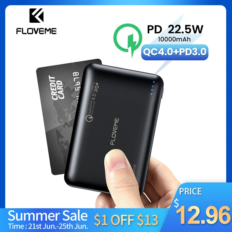 AliExpress - FLOVEME Power Bank 10000mAh Quick Charge 4.0 Portable Charger USB Type C PD 3.0 Fast Charging Powerbank External Battery Charger