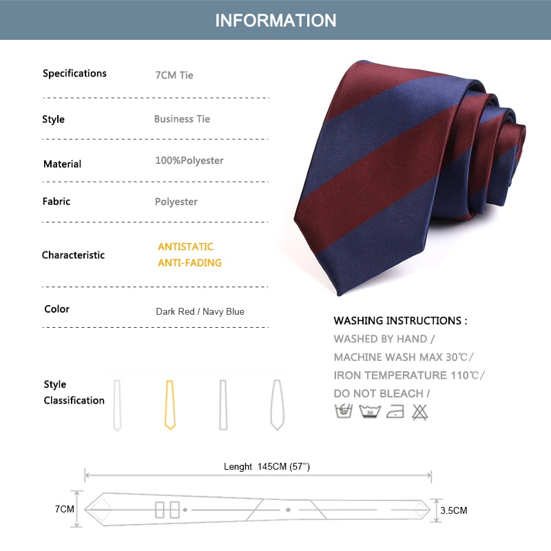 Men's Classic Blue / Red Striped Neck Tie Fashion Formal Tie High Quality 7CM Ties For Men Business Suit Work Necktie Gift Box