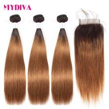 Mydiva 3 pièces Lot de Cheveux Brésiliens Bruns Ombrés avec Fermeture Non Remy