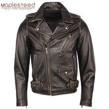 Винтажная мотоциклетная куртка, мужские кожаные куртки, толстая 100% воловья кожа, натуральная кожа, пальто, зимняя байкерская куртка, мото од...