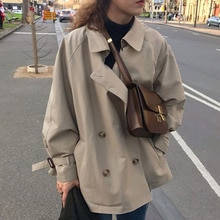 Trench Coat Women Autumn Retro French British Style Plain Lapel Double-breasted Loose Tie Casual Lon