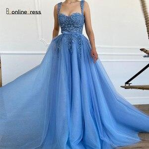 Bbonlinedress Tulle Blue Prom Dress 2021 Spaghetti Strap Sweetheart Embroidery Beaded Long Evening Dress Robe De Soiree longue