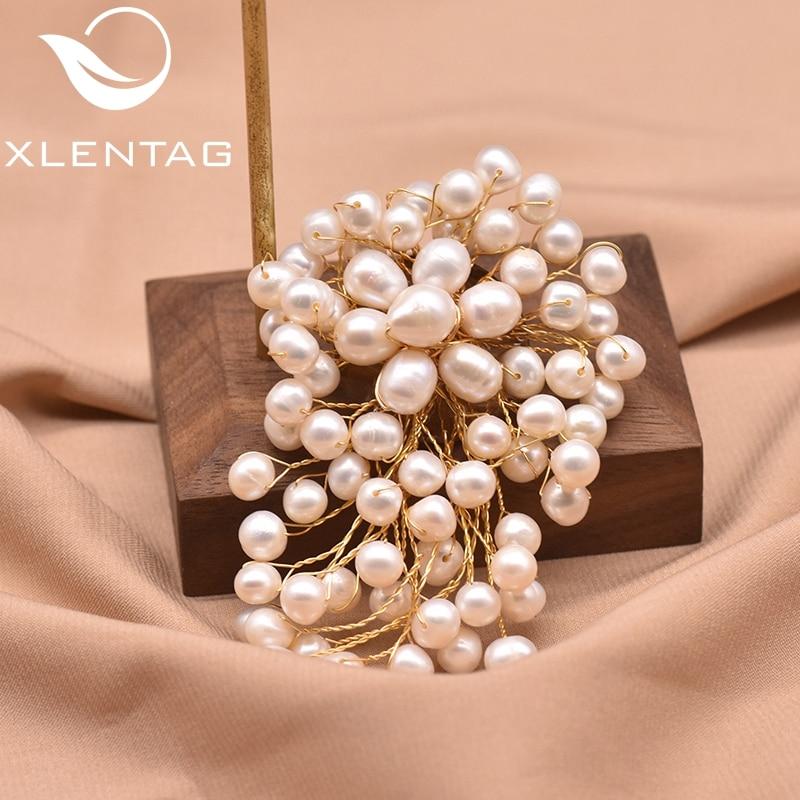 XlentAg-broche de perla Natural de agua dulce para mujer, broche para fiesta,...