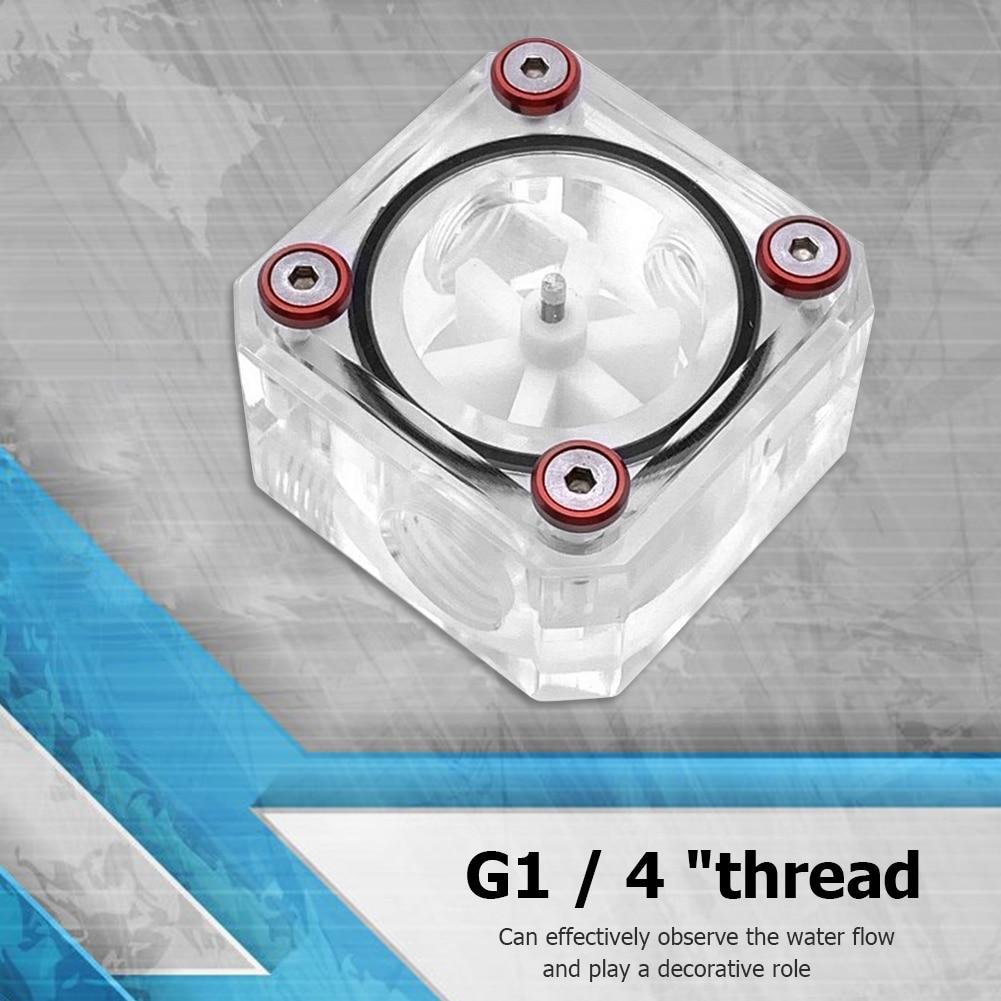 G1/4 hilo 6 impulsor 3 vías caudalímetro cuadrado Indicador de agua para sistema de refrigeración de agua de PC