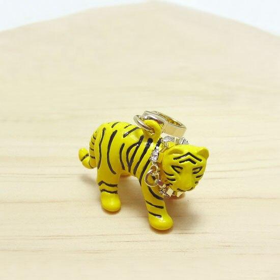 Moda lindo pequeño Tigre amarillo dijes bolso cremallera llaveros para mujer pulsera, collar