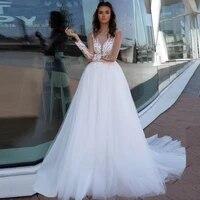 long sleeves wedding dresses boho scoop neck a line applique tulle princess wedding gown for bride robe de mariee