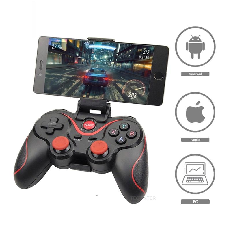 Terios T3 X3 عصا تحكم لاسلكية غمبد الكمبيوتر أذرع التحكم في ألعاب الفيديو دعم بلوتوث BT3.0 المقود للهاتف المحمول هاتف لوحي حامل الصندوق التلفزيوني