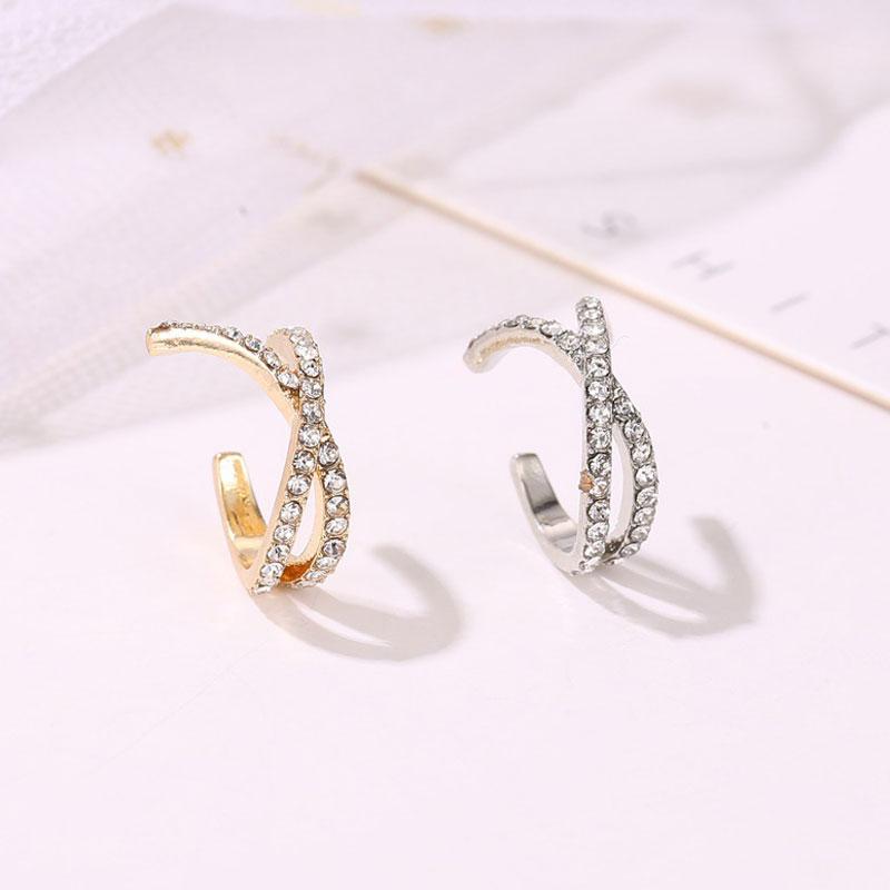Top Popular cruz en forma de U oreja Clip pendiente aleación Simple Set Auger sin orificio de oreja pendientes mujer joyería de moda pendientes