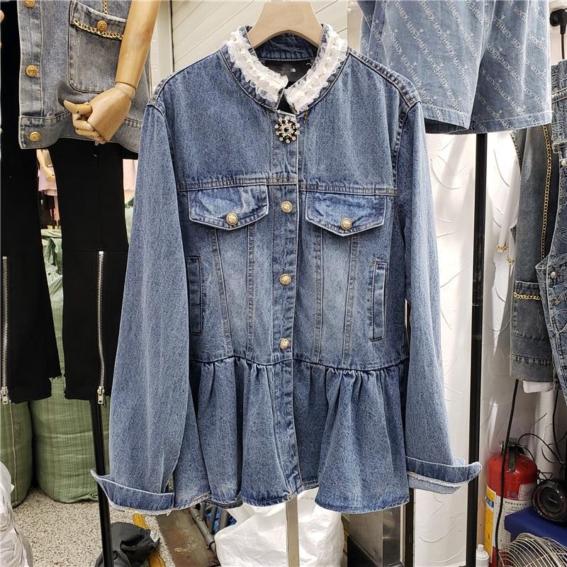 سترة للخريف للنساء طويلة الاكمام صناعة معطف جينز فضفاض مطرز بالدانتيل وياقة ثابتة للنساء
