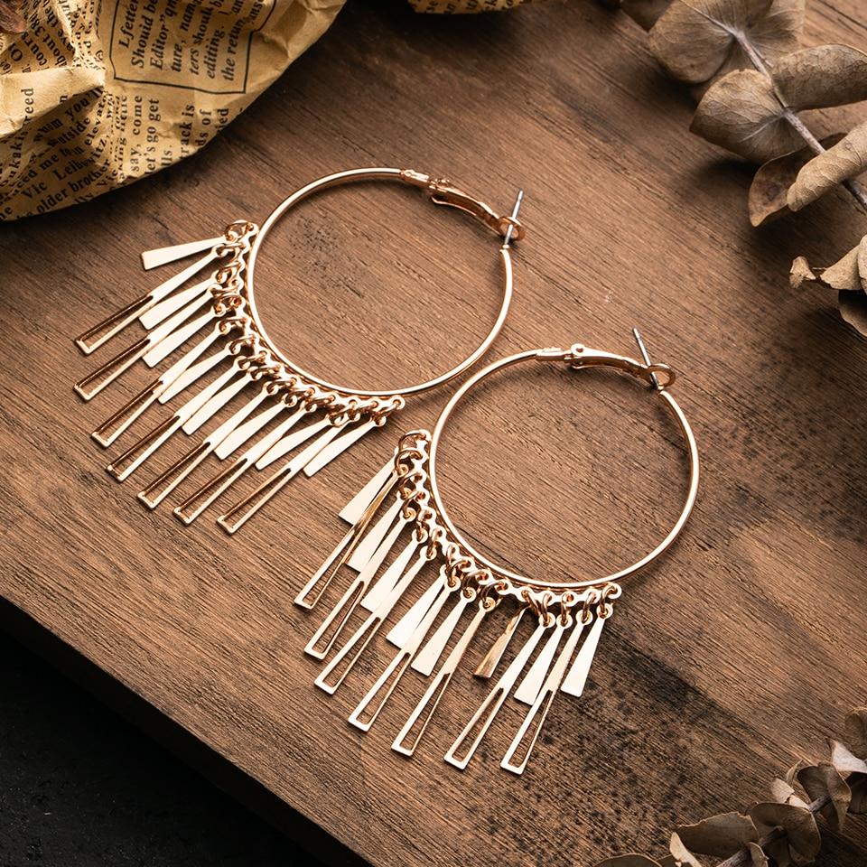 Vintage Boho Tassel Hanging Dangle Drop Earrings for Women Female Big Goldn Circle Hoop Ethnic Earrings Party Wedding  Jewelry