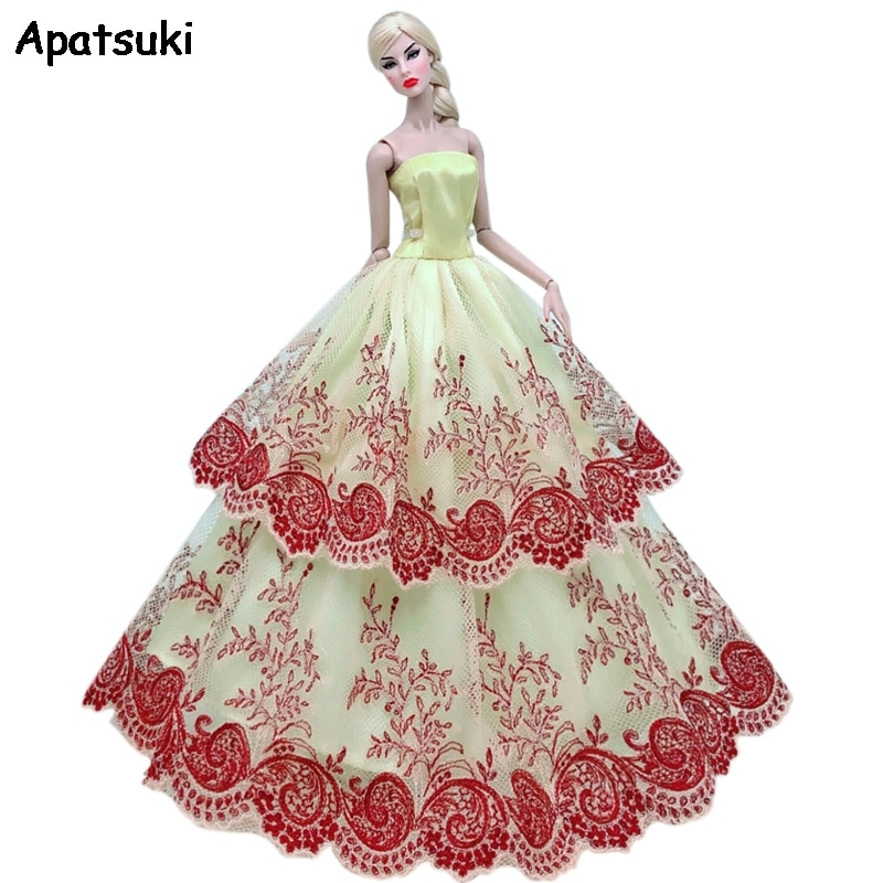 Yellow Brown Lace Floral Wedding Dress For Barbie Doll Clothes Multi-layer Party Gown Outfits For 1/6 BJD Dolls Accessories Toys
