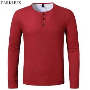 Red Waffle Cotton Tshirt Men 2021 Brand Casual Slim Fit Henley Shirts Mens Long Sleeve T-shirt Men Autumn Winter T Shirt Male