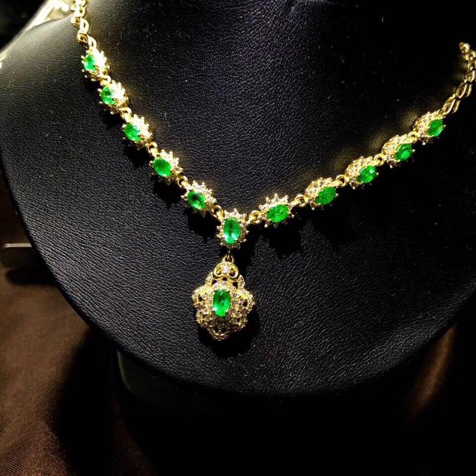 قلادة الذكرى السنوية الزمرد الأخضر الطبيعي للمرأة ، قلادة من الفضة الإسترليني عيار 925 ، قلادة من الأحجار الكريمة للفتيات ، عرض خاص كهدية