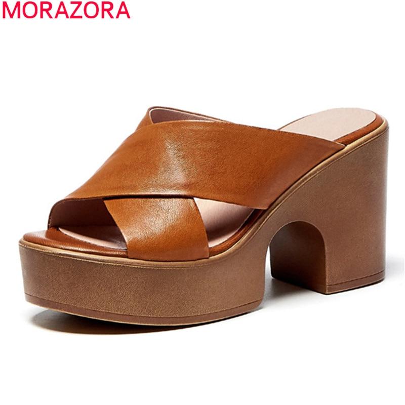 MORAZORA 2021 جديد الصيف العلامة التجارية عالية الكعب أحذية جلد الغنم منصة الموضة النساء النعال البني البيج اللون البغال الأحذية