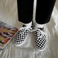 canvas shoes female student korean version comfortable harajuku ulzzang black and white check retro hong kong style flat shoes