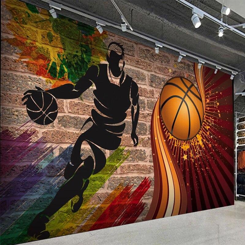 Personalizado qualquer tamanho mural papel de parede 3d basketball tijolo fresco restaurante cafe bar criativo fundo decoração da parede pintura