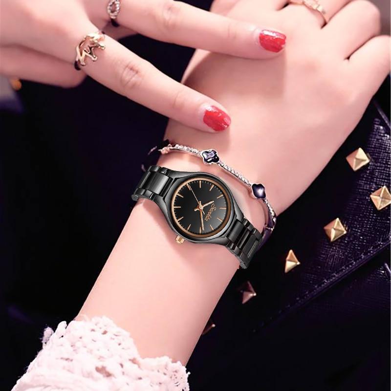 SUNKTA Brand Luxury Women Watches Black Ceramic Watch Women Dress Quartz Wristwatch For Women Relogios Femininos Wife Gift Clock enlarge