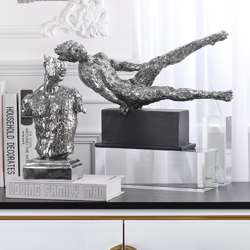 Moderna figura de lujo deportiva estatua pensador de gimnasia escultura de arte resina arte personajes abstractos decoración del hogar R4259