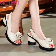 GKTINOO 2020 Sommer Frauen Sandalen Retro Stil Handgemachte Blumen Plattform Dame Echtes Leder High Heel Sandalen frauen Schuhe