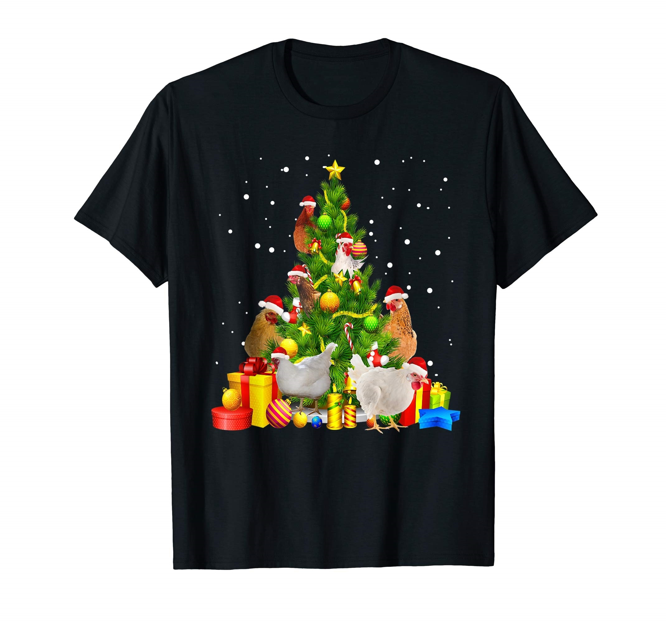 Regalo de árbol camiseta-Camiseta para hombre-pollo negro árbol de Navidad divertida Famer x-mas