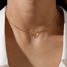 Korean Simple Style Circle Necklaces for Women Gold Silver Color Geometry Chain Choker Necklace Fash
