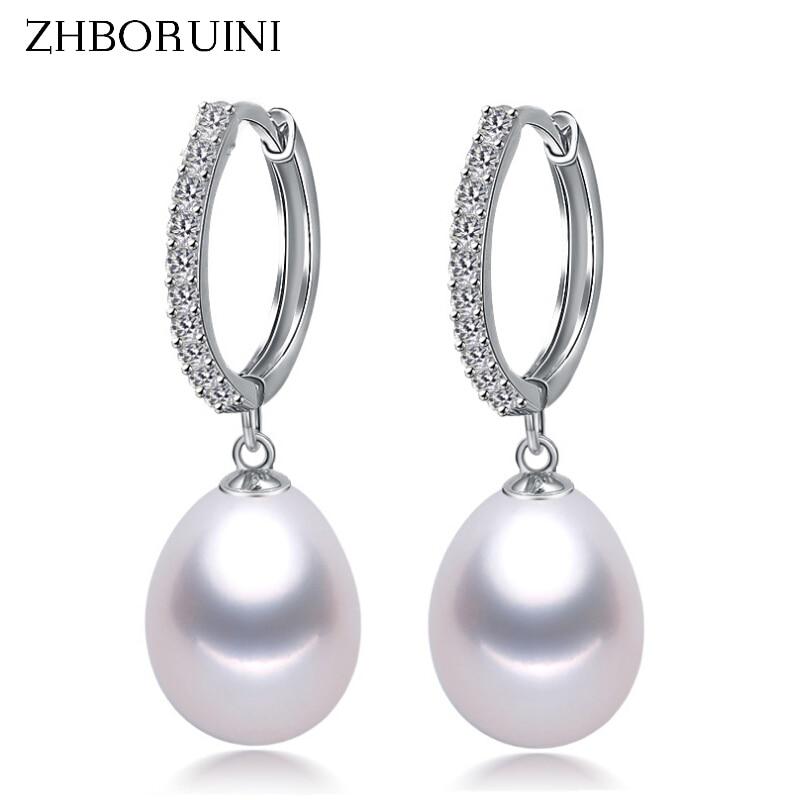 ZHBORUINI 2019 Pearl Earrings Genuine Natural Freshwater Pearl 925 Sterling Silver Earrings Pearl Je