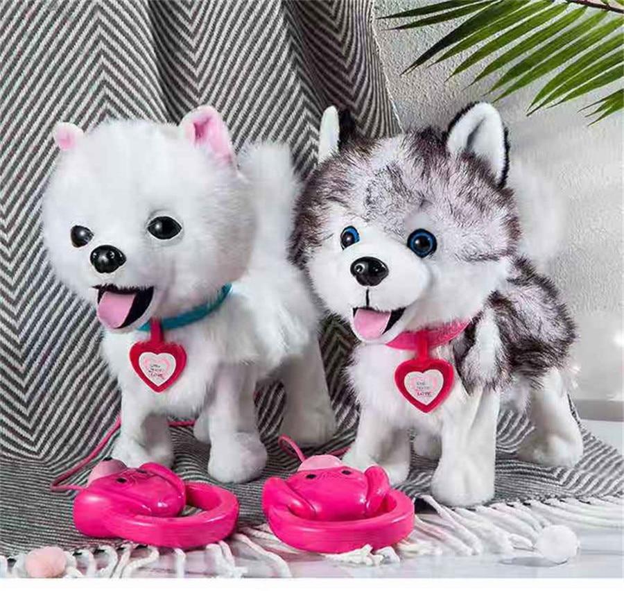 Электронная Интерактивная игрушка-собака с ручкой, робот-щенок, пение домашних животных, гуляющая с сумкой, милые плюшевые игрушки для дете...