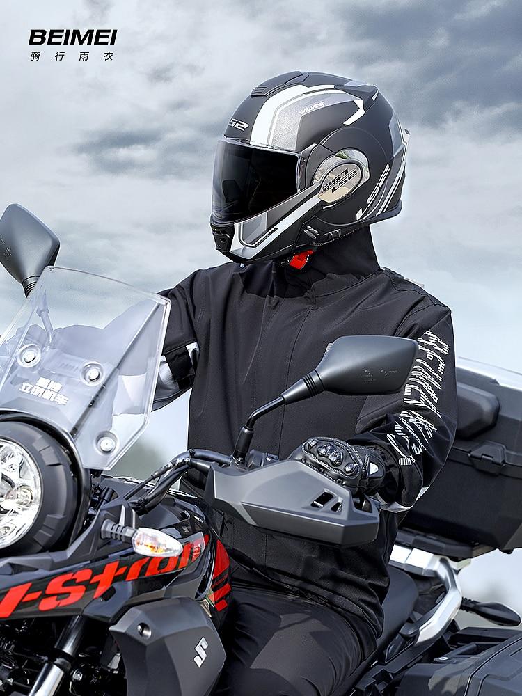 Black Reusable Adult Bicycle Raincoat Waterproof Raincoat Hooded Suit Cycing Rain Gear Chubasqueros Camping Supplies BK50YY enlarge